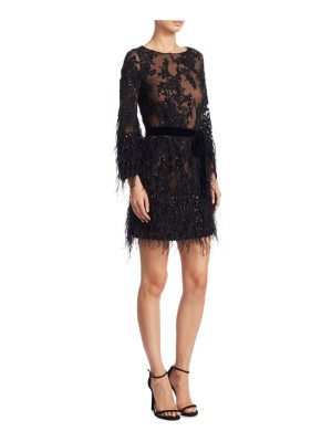 Marchesa lace tunic cocktail dress
