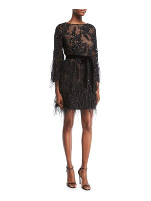 Marchesa Long-Sleeve Feather Beaded Floral-Lace Cocktail Dress