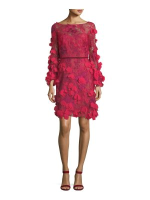 Notte by Marchesa 3D Floral Long-Sleeve Cocktail Dress