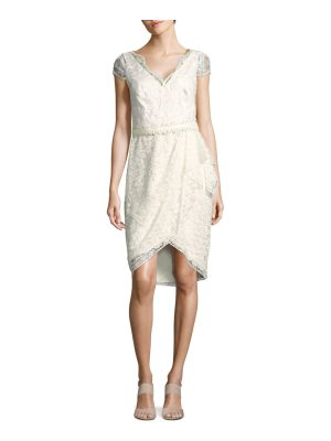 Notte by Marchesa Belted Embroidered Tulle Dress