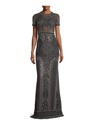 Notte by Marchesa Embroidered Lace Cap-sleeve Column Evening Gown