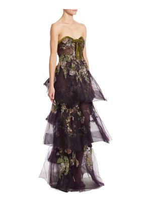 Marchesa tiered embellished gown