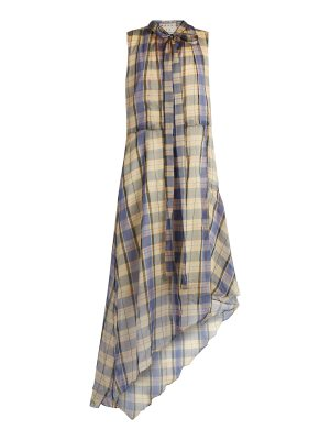 Marni Asymmetric madras-checked midi dress