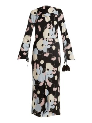Marni Boat-neck floral-print crepe dress