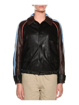 Marni Button-Front Side-Stripe Leather Bomber Jacket