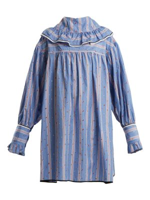 Marni Floral-embroidered striped cotton dress