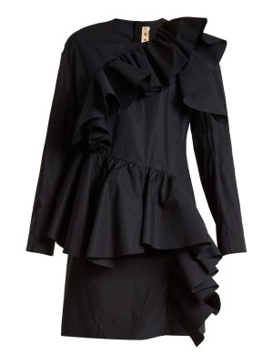 Marni Gathered-ruffle long-sleeved cotton mini dress