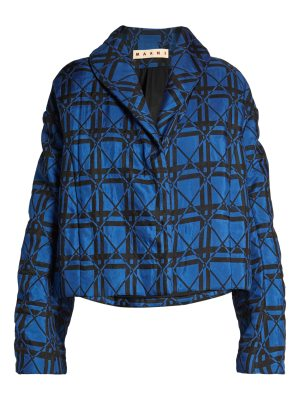 Marni Shawl-collar padded geometric-jacquard jacket