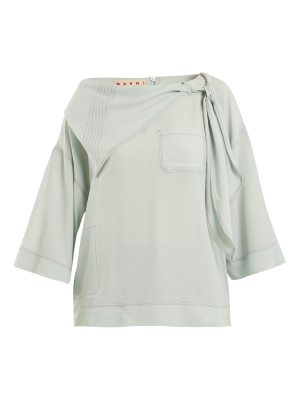 Marni Neck-tie draped crepe blouse
