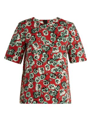 Marni Poetry Flower-print cotton and linen-blend top