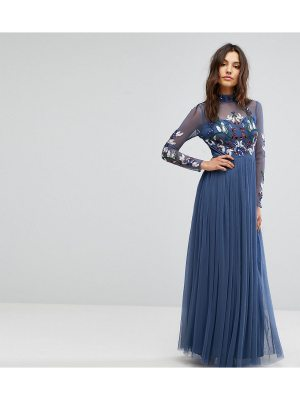 Maya Long Sleeved Maxi Dress with High Neck and Embellishment