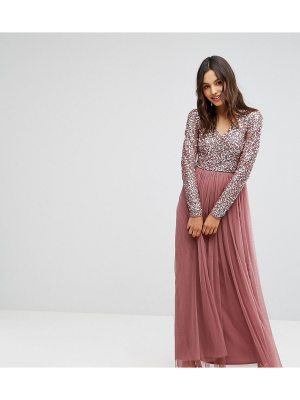 Maya Maxi Dress in Tonal Delicate Sequin with Long Sleeve