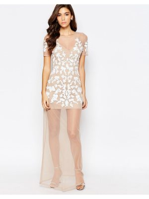 Maya nude mesh maxi dress with embellishment