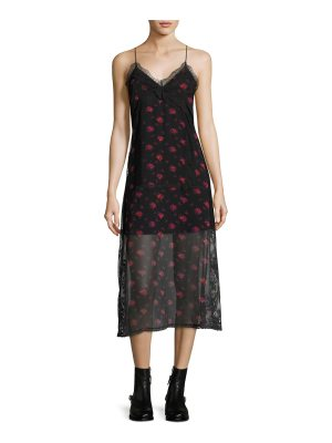 McQ by Alexander McQueen Decon Floral-Print Chiffon Slip Dress w/ Lace