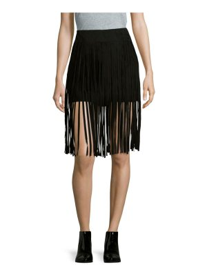 McQ by Alexander McQueen Solid Leather-Fringe Skirt