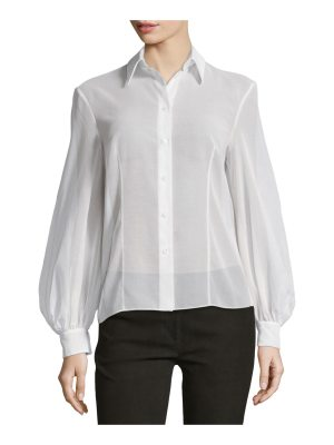 Michael Kors Bishop-Sleeve Button-Front Blouse