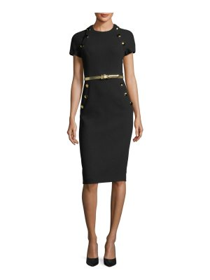 Michael Kors Collection Button-Pocket Crewneck Sheath Dress