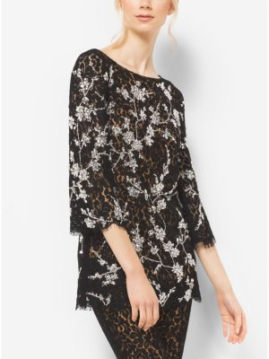 Michael Kors Collection Crystal-Embroidered Floral Lace Tunic