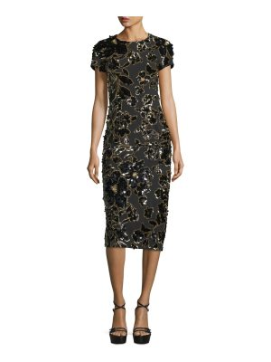Michael Kors Collection Embroidered Crewneck Sheath Dress