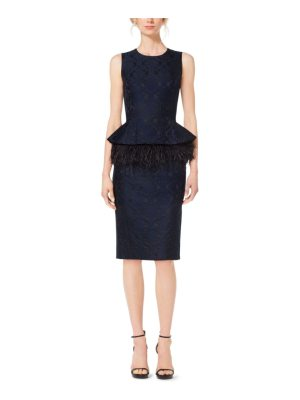 Michael Kors Collection Feather-Embroidered Peplum Damask Jacquard Dress