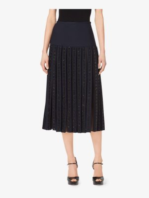 Michael Kors Collection Gem-Embroidered Stretch-Wool Pleat Skirt