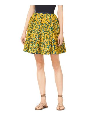 Michael Kors Collection Gladiolus-Embroidered Silk And Wool Mikado Skirt