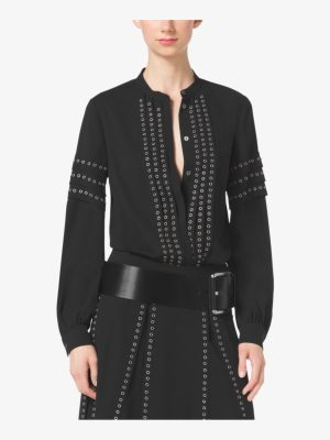 Michael Kors Collection Grommet-Embroidered Georgette Blouse