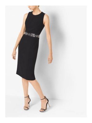 Michael Kors Collection Grommeted Stretch Boucle-Crepe Sheath Dress