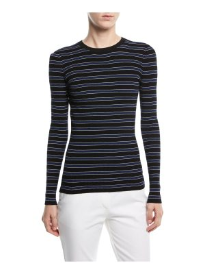Michael Kors Collection Long-Sleeve Crewneck Striped Rib-Knit Sweater