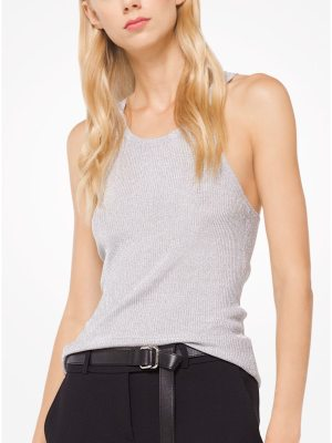 Michael Kors Collection Metallic Stretch-Viscose Ribbed Tank