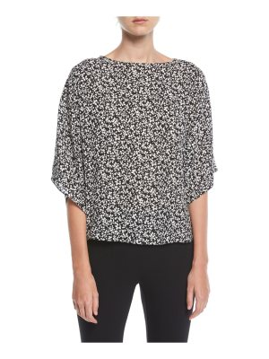 Michael Kors Collection Mini Floral-Print Boat-Neck Top
