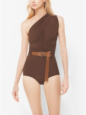 Michael Kors Collection One-Shoulder Shirred Maillot