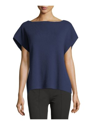 Michael Kors Collection Ribbed Boat-Neck Cap-Sleeve Cashmere-Stretch Sweater