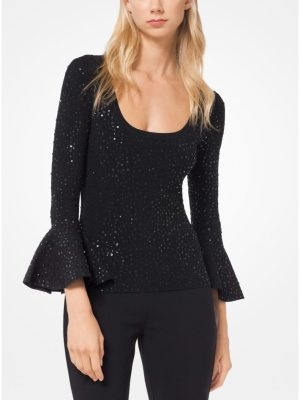 Michael Kors Collection Sequined Stretch-Viscose Bell-Cuff Top