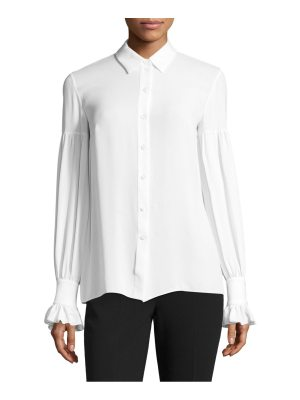 Michael Kors Collection silk gathered bell-sleeve silk button-down shirt