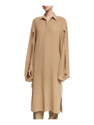 Michael Kors Collection Silk Georgette Slit-Sleeve Midi Shirtdress