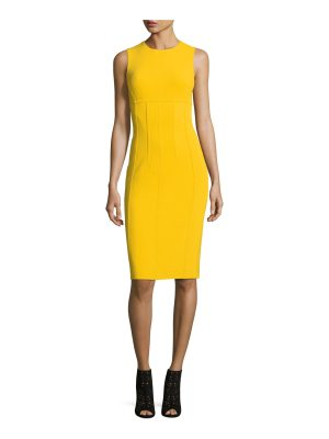 Michael Kors Collection Sleeveless Crewneck Stretch-Boucle Sheath Dress