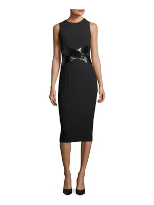Michael Kors Collection X-Paillette Sleeveless Sheath Stretch-Boucle Dress