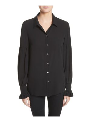 Michael Kors gathered sleeve silk georgette blouse