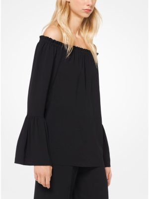 Michael Kors Collection Off-The-Shoulder Silk-Georgette Blouse