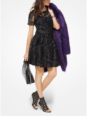 MICHAEL Michael Kors Feather-Embroidered Dress