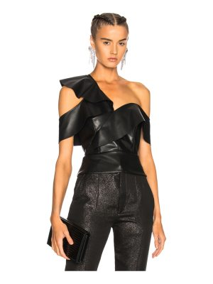 Michelle Mason Faux Leather Ruffle Top