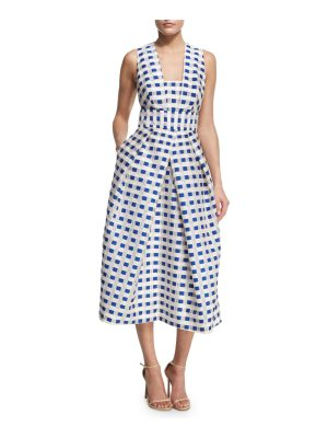 Milly Elisa Sleeveless Gingham Fil Coupe Midi Dress