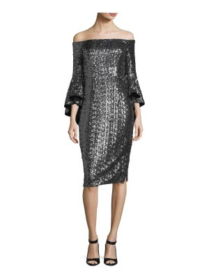 Milly Selena Off-the-Shoulder Sequined Cocktail Dress