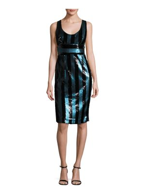 Milly Veronica Sleeveless Striped Sequin Cocktail Dress