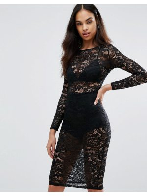 Misha Collection Collection Sheer Lace Pencil Dress