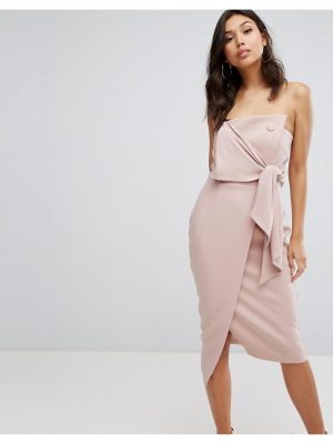 Misha Collection Collection Structured Bandeau Pencil Dress With Tie Detail