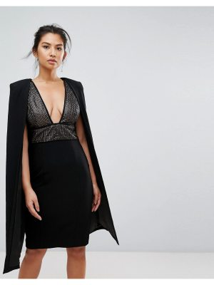 Misha Collection collection structured sequin midi dress with cape overlay