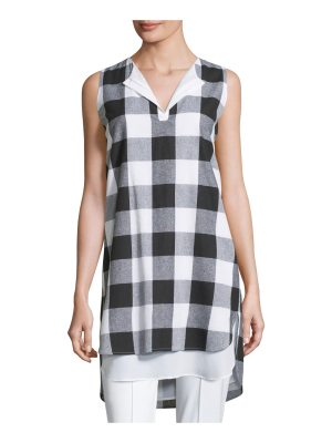 Misook Collection Sleeveless Gingham Layered Shirt
