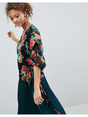 Miss Selfridge floral print wrap front blouse
